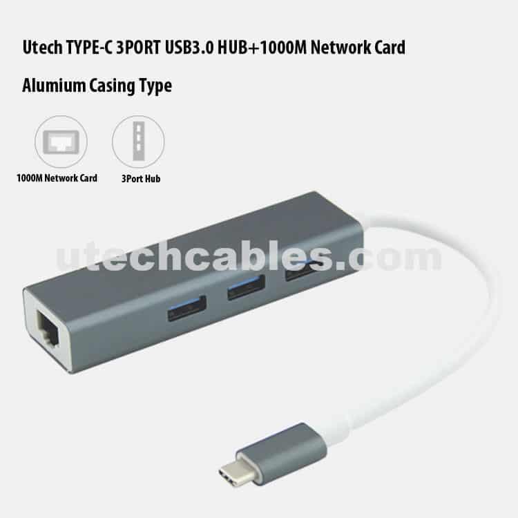 USB C 3.0 Hub Gigabit Ethernet Adapter